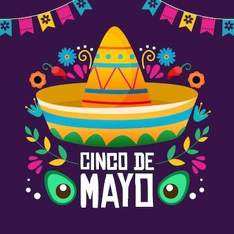 Ilustración creativa de sombrero mexicano