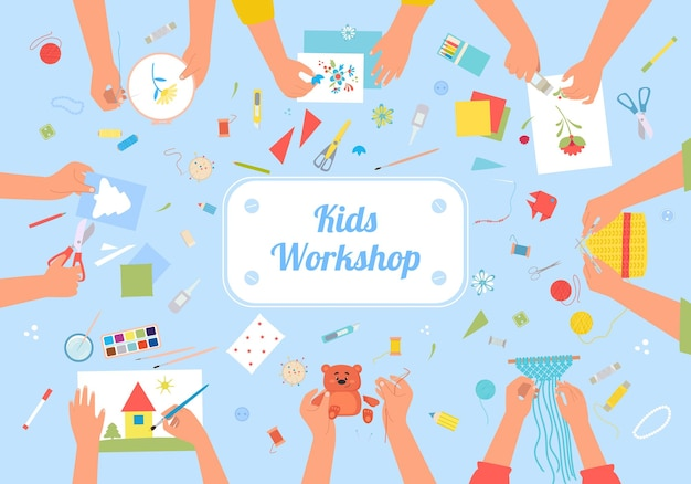 Ilustración creativa de taller de niños hechos a mano.