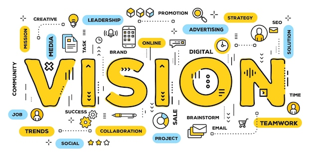 Ilustración creativa de la tipografía de la palabra visión amarilla con iconos de línea y nube de etiquetas