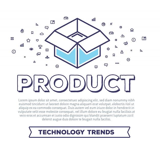 Ilustración creativa de vector de caja abierta con tipografía de palabra y nube de iconos de línea sobre fondo blanco. embalaje del producto