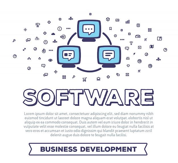 Ilustración creativa de vector de computadoras y cables con tipografía de palabra y nube de iconos de línea sobre fondo blanco. software