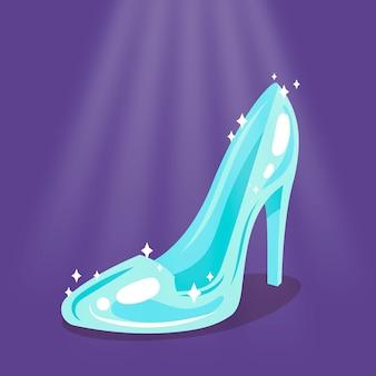 Ilustración creativa de zapato de cristal de cenicienta