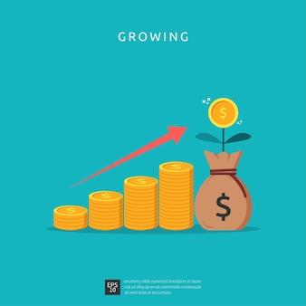 Ilustración de crecimiento empresarial para el concepto de inversión inteligente. rendimiento de beneficios o ingresos con monedas de pila símbolo de retorno de inversión roi