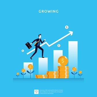 Ilustración de crecimiento empresarial para el concepto de inversión inteligente. rendimiento de beneficios o ingresos, símbolo del retorno de la inversión roi