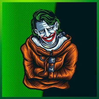 Ilustración de creepy clown head con una cara de sonrisa en el fondo naranja. ilustración dibujada a mano