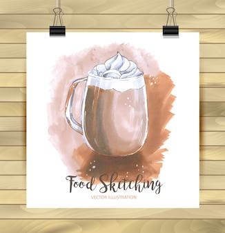 Ilustración de crema de café con hielo