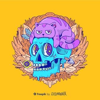 Ilustración de criatura creativa y colorida.