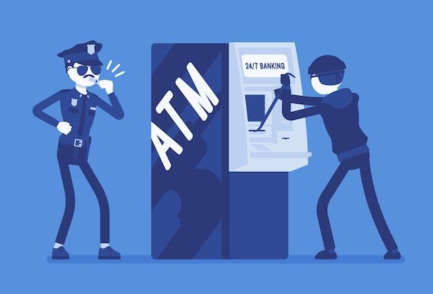 Ilustración de crimen de piratería de cajeros automáticos