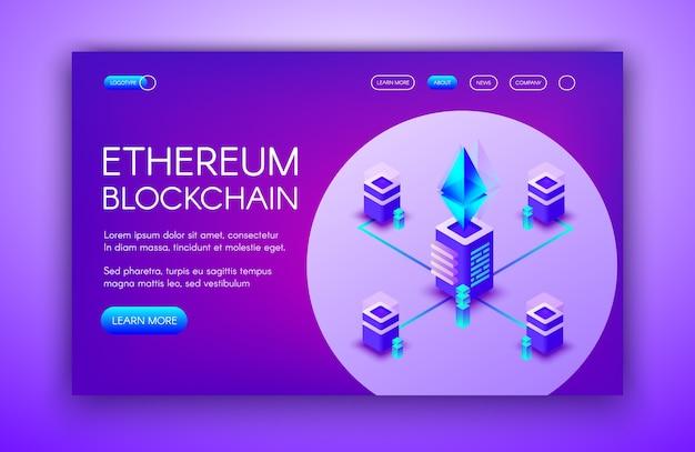 Ilustración de la criptomoneda de ethereum de los servidores de blockchain en la granja minera ether.