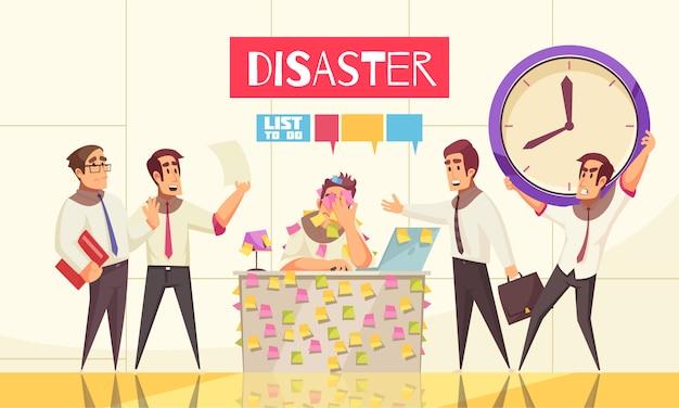 Ilustración del cronograma de planificación con un empleado de oficina sentado en su lugar de trabajo cubierto con notas recordatorias y titulares sobre desastres