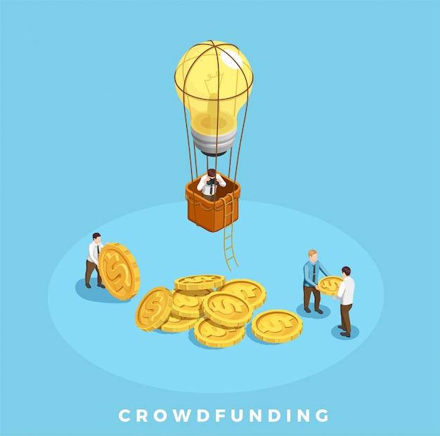 Ilustración de crowdfunding y dinero