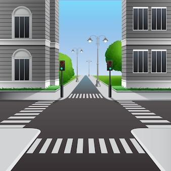 Ilustración de cruce de caminos urbanos con semáforos y paso de peatones