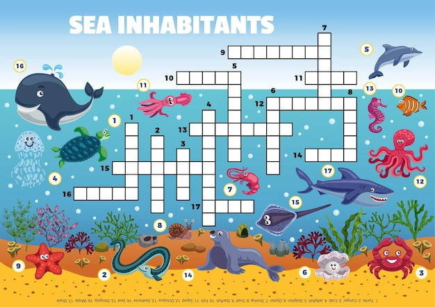 Ilustración de crucigrama divertido de habitantes del mar