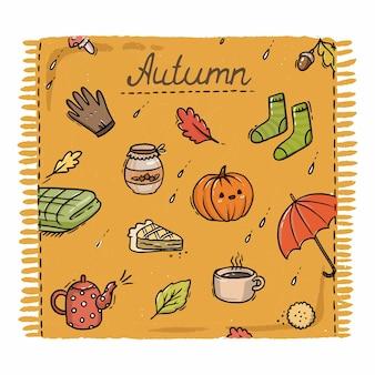 Ilustración de cuadros de otoño naranja