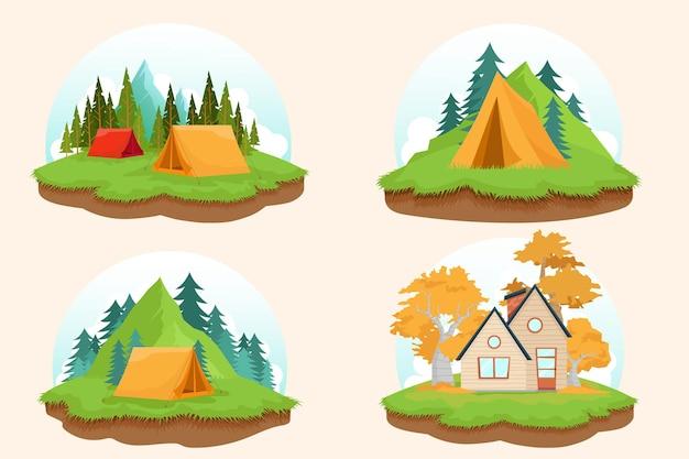 Ilustración con cuatro naturaleza, tienda de campaña y cabaña.