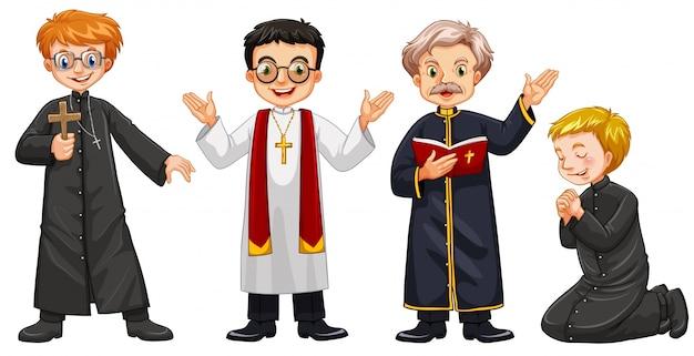 Ilustración de cuatro personajes de sacerdotes