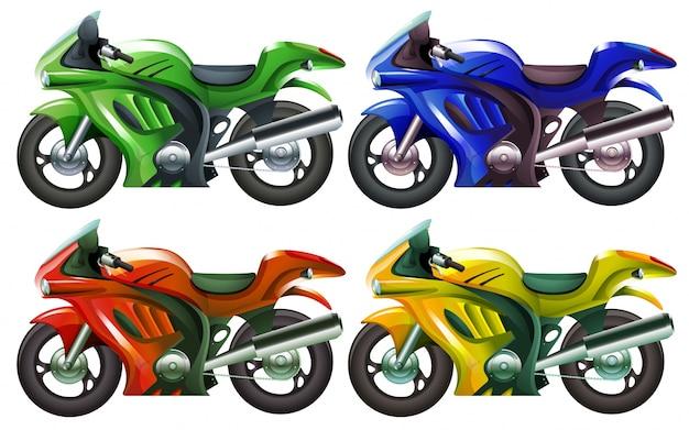 Ilustración de las cuatro superbikes sobre un fondo blanco