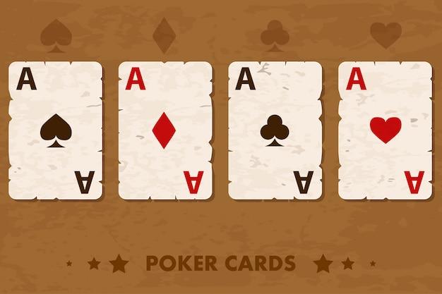 Ilustración cuatro viejos naipes de póker