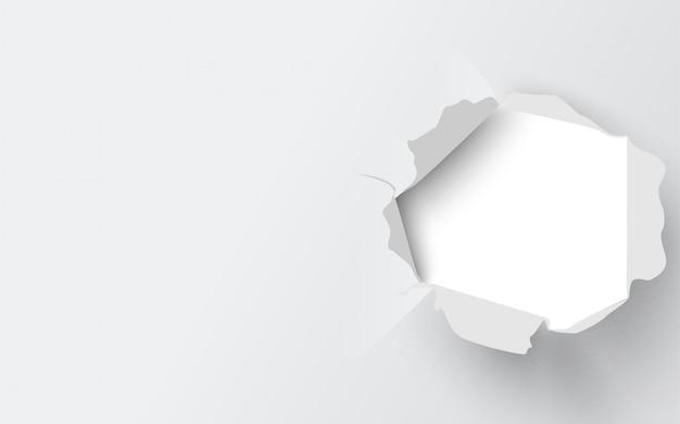 Ilustración de la cubierta de papel rasgado blanco.