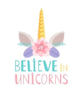 Ilustración de cuerno y flores de unicornio
