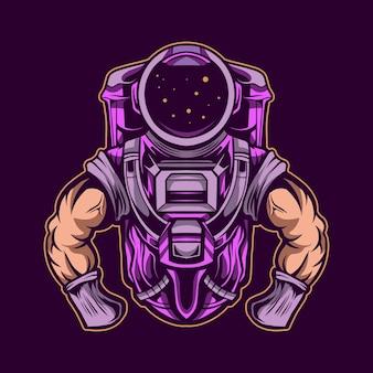 Ilustración de cuerpo muscular de astronauta