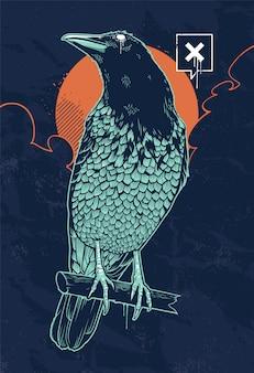 Ilustración de cuervo místico