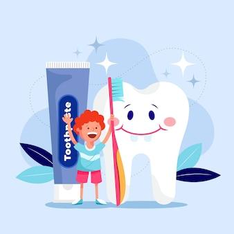 Ilustración de cuidado dental de diseño plano