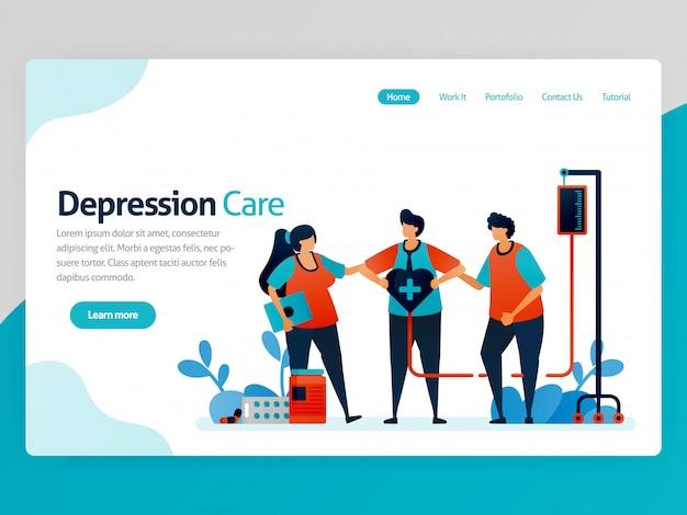 Ilustración del cuidado de la depresión. amigos de apoyo y conciencia en el tratamiento y la terapia de salud. curación de los trastornos mentales. dibujos animados de vector para aplicaciones de plantilla de página de página de inicio de encabezado de página web