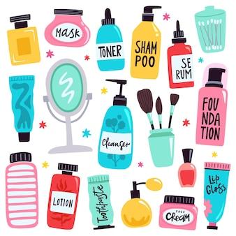 Ilustración de cuidado de la piel y maquillaje.