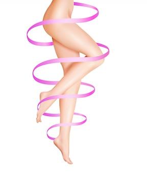 Ilustración de cuidado de piernas femeninas