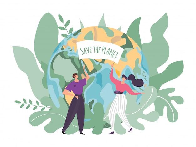 Ilustración de cuidado de la tierra, personas de dibujos animados pequeños y planos, personajes voluntarios con pancarta salvar el planeta en el medio ambiente, protección de la ecología