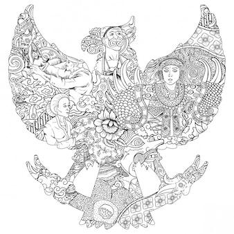 Ilustración de la cultura indonesia