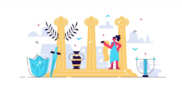 Ilustración de la cultura romana. pequeño concepto de personas de turismo histórico. arquitectura clásica antigua con esculturas, pilares de piedra y elementos decorativos. viaje de diseño de arte antiguo patrimonio vintage.