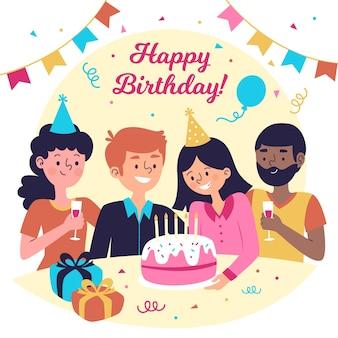 Ilustración de cumpleaños de diseño plano con gente y pastel
