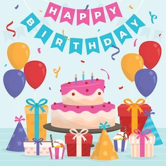 Ilustración de cumpleaños de diseño plano con pastel y regalos
