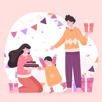 Ilustración de cumpleaños con familia