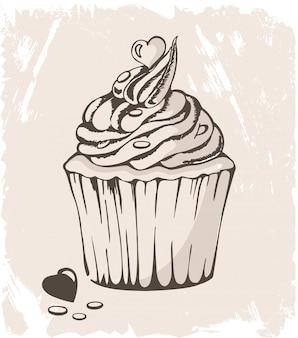 Ilustración de cupcake con corazón en pastel
