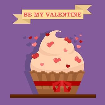 Ilustración de cupcake romántico para el día de san valentín