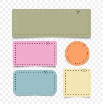 Ilustración del cupón recortado con línea discontinua y tijeras de diferentes formas color cupón bordes cupón publicitario cortado de una hoja de papel