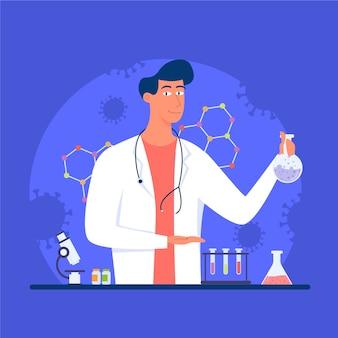 Ilustración de cura de virus