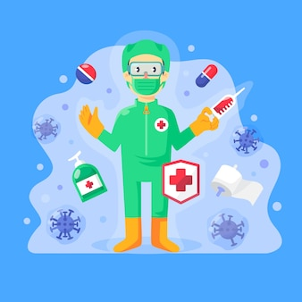 Ilustración con cura de virus