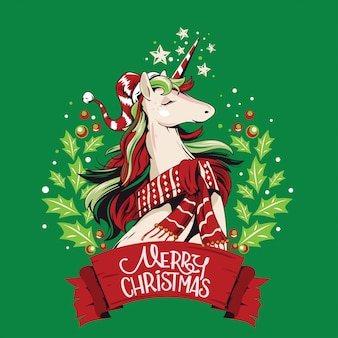 Ilustración cute unicorn-santa en corona de navidad