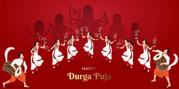 Ilustración de damas en happy durga puja y playing dhunuchi nach en ritmos de dhak subho bijoya