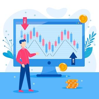 Ilustración de datos de la bolsa de valores