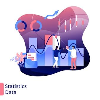 Ilustración de datos estadísticos estilo moderno