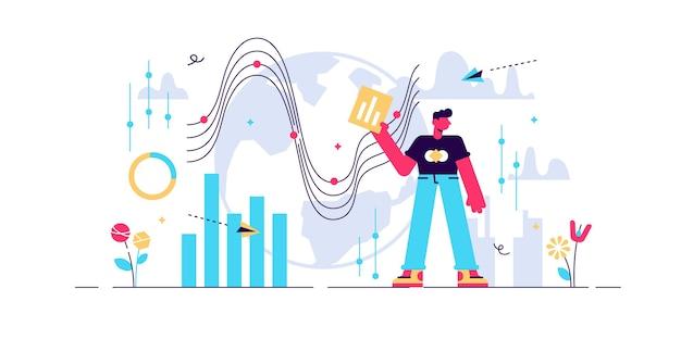 Ilustración de datos grandes. persona diminuta con concepto de visualización de servidor. conexión de red digital a internet con análisis de almacenamiento de base de datos global. proceso de archivo de sistemas de investigación de trabajadores de negocios de ti