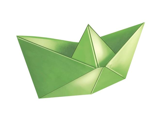 Ilustración de barco verde 3d origami