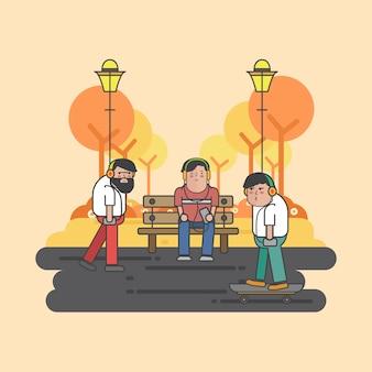 Ilustración de chicos colgando en el parque