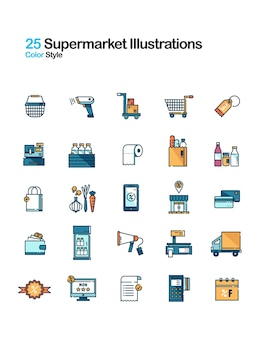 Ilustración de color lineal de supermercado