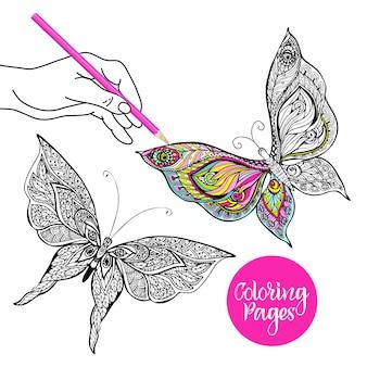 Ilustración de color mariposa